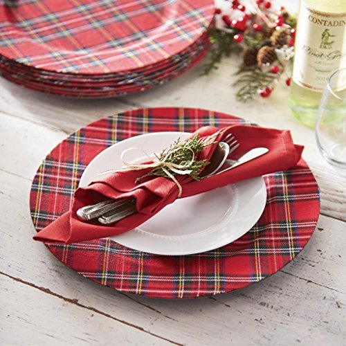 Mud Pie Deck The Halls Red Tartan Plaid Charger Plates, 13