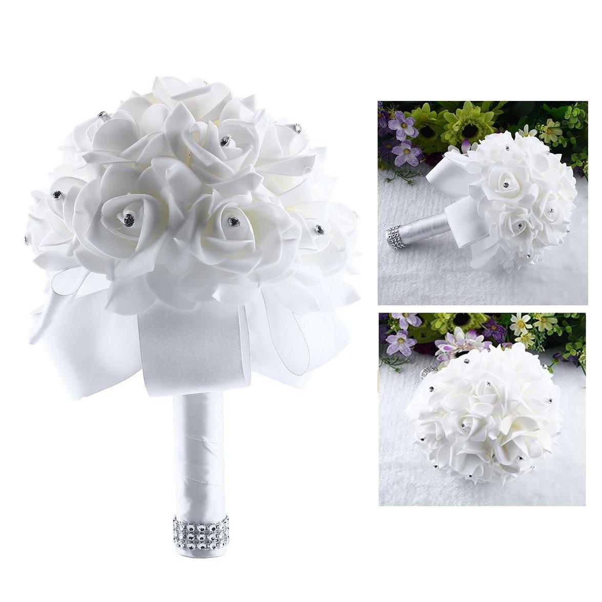 Itian Handmade Bouquet Of Roses Bride Bridesmaid Wedding Flower Pure Satin Beautiful Flowers Artificial Flowers