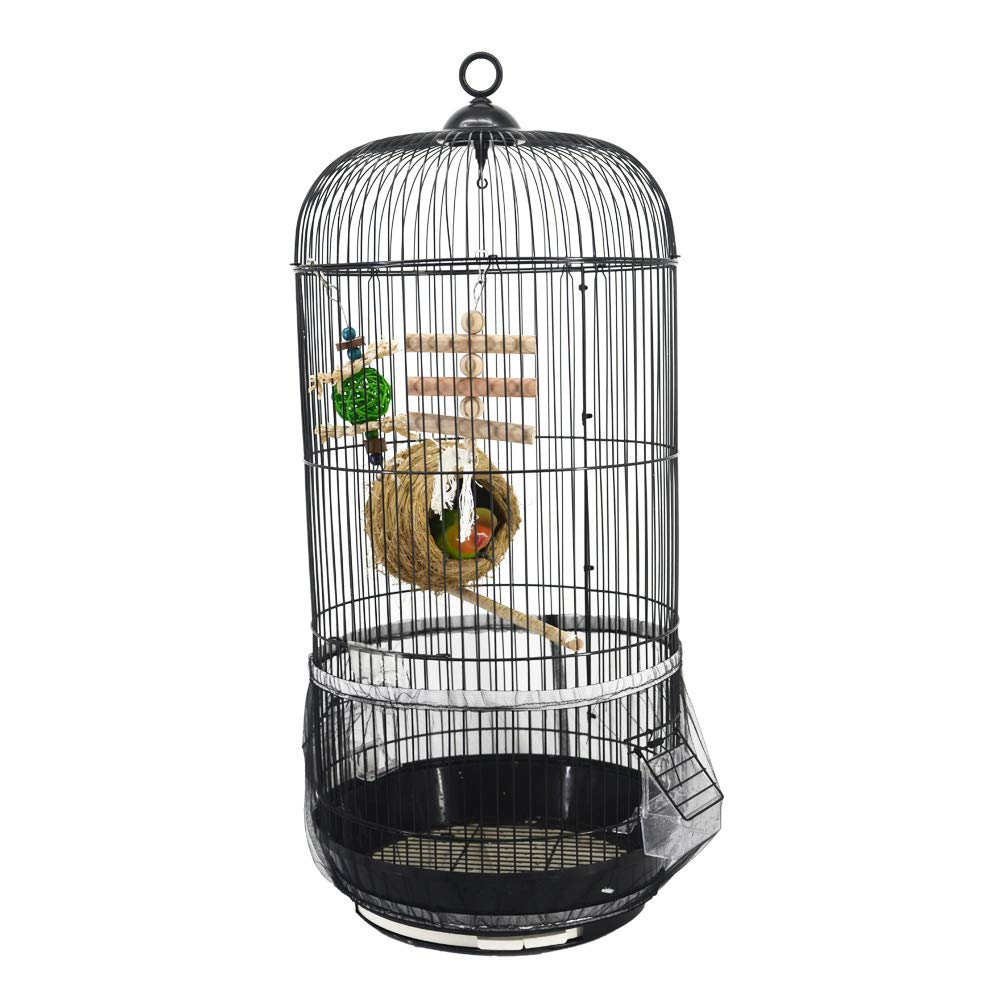 QBLEEV Bird Cage Seed Catcher Mesh Birdcage Seeds Guard Skirt Net Cover for Round Bird Cages Black color