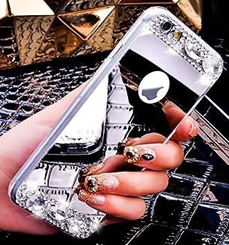 iPhone 7 Plus caso, 7 Plus Funda, ikasus Plating Bling TPU suave brillantes y pieles de espejo caso, lujo Bling diamante purpurina de goma espejo maquillaje Carcasa para iPhone 7 Plus 5,5  5  4334995160