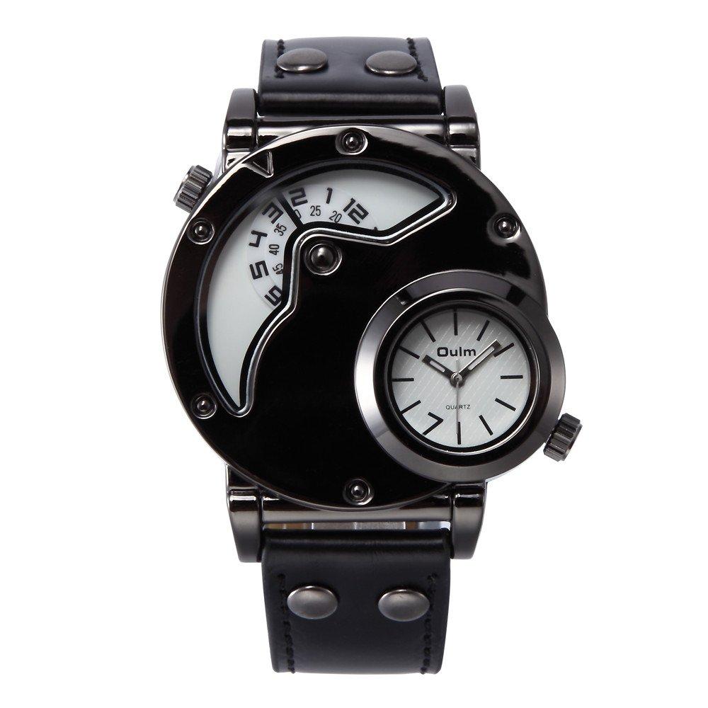 Men's Watch Double Dial Leather Multifunction Waterproof Quartz Black Leather Strap Fashion