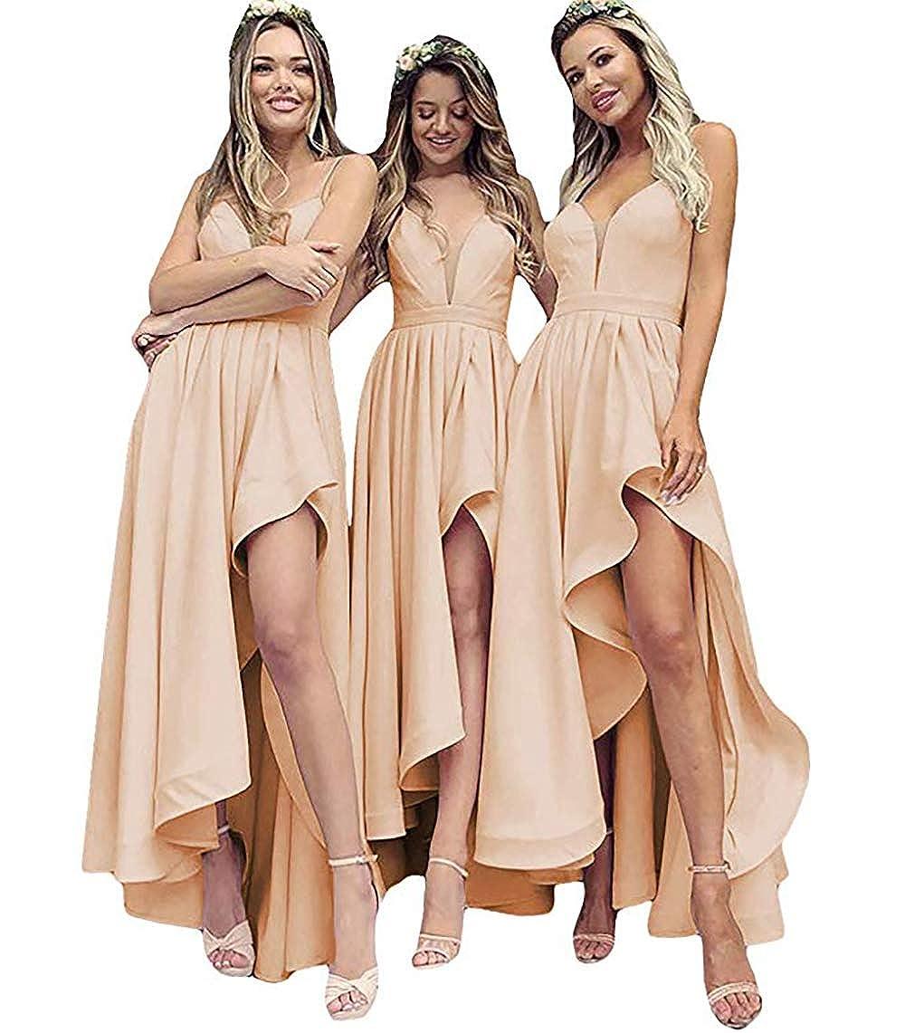 Champagne IVYPRECIOUS V Neck A Line High Low Bridesmaid Dresses Tea Length Wedding Party Dresses