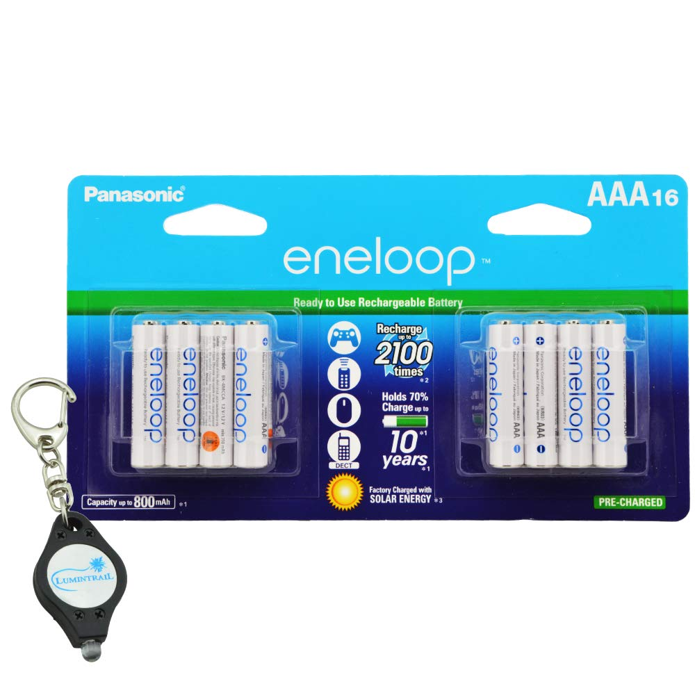 Panasonic eneloop AAA Rechargeable Batteries 2100 Cycle Ni-MH Pre-Charged, 16 Pack Bundle with a Lumintrail Keychain Light
