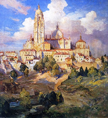 Cutler Miles Segovia, Spain by Colin Campbell Cooper Hand Painted Oil on Canvas Reproduction Wall Art. 27x30 by Cutler Miles