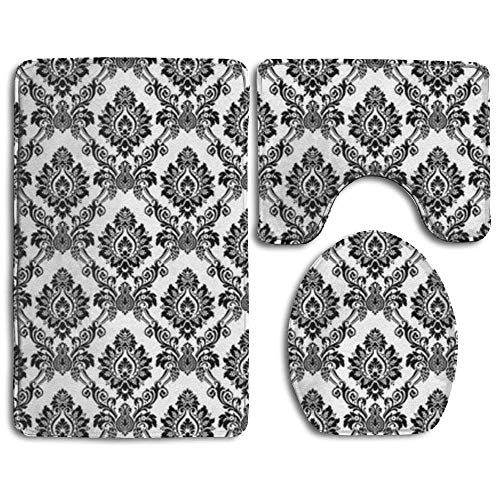 VANKINE 3 Piece Bathroom Rug Set - Skidproof Toilet Bath Rug Mat U Shape Contour Lid Cover for Shower Spa - Damask Antique Classical Damask Flowers ()