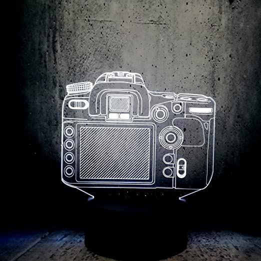 DFDLNL Modelo de cámara Cambio Multicolor Mesa de lámpara 3D ...