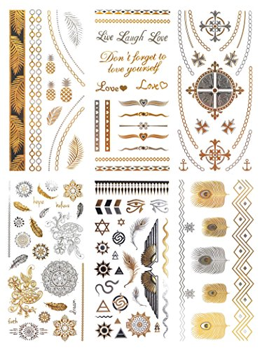 [COKOHAPPY 6 Sheets Metallic Temporary Tattoo , Mandala Rome Cross Feather Angel Wing Flash Beach Tattoo in Gold Silver , Easy to Apply and Long Lasting for Women] (Angel Costume Makeup)
