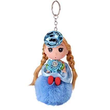 Gbell Puffy Pom Pom Doll Key Chains for Girls-Cute Fluffy Pompom Ball  Keychain for Women Girl Gifts,Cell Phone Bags Purse Charm Pendant,1Pcs  18X8CM
