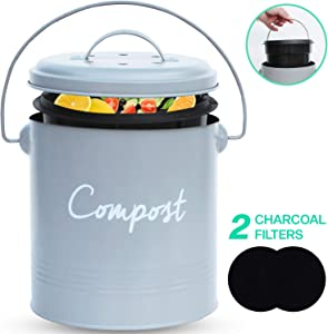 COMPOST BIN - Stainless Steel Compost Bin for Kitchen Counter - with Inner Compost Bucket for Kitchen, 2 Fruit Fly Trap Filters. Composter for Zero Waste Recyling. Kitchen Oompost Bin, Compost Pail