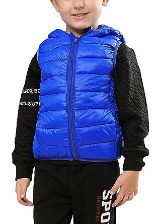 liangfeng - Chaleco Encapuchado Invierno para Niños Unisex 5-12 años Abrigo Outwear Acolchado Caliente Suave: Amazon.es: Ropa y accesorios