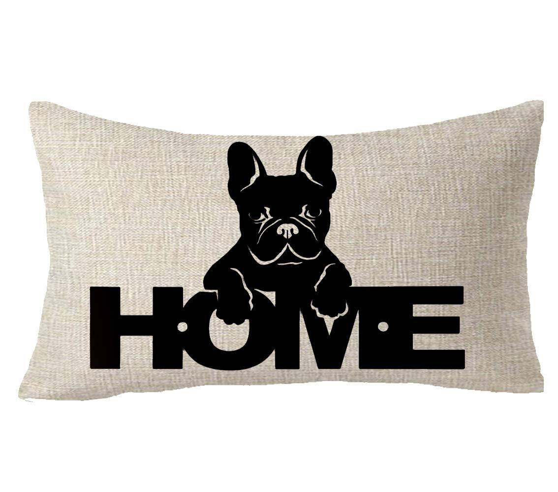 "FELENIW Animal Pet Dog French Bulldog Love is a Four Legged Dog Throw Pillow Cover Cushion Case Cotton Linen Material Decorative 18"" Square (10) 1"