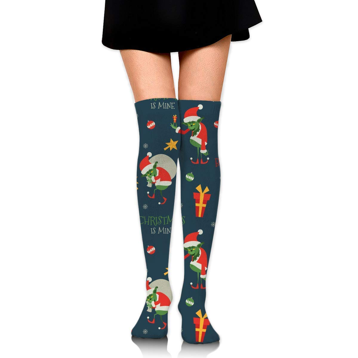 suzhouxiu Grinch Pattern Womens Knee High Socks Long Socks Sport Socks Thin For Running,Medical,Athletic,Travel