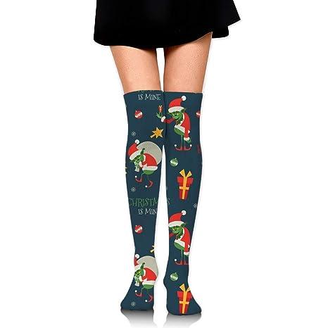 suzhouxiu Grinch Pattern Womens Knee High Socks Long Socks Sport Socks Thin For Running,Medical