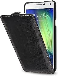 StilGut UltraSlim, Housse Samsung Galaxy A7 (2015) en Cuir. Etui de Protection à Ouverture Verticale et à Fermeture clipsée en Cuir véritable, Noir