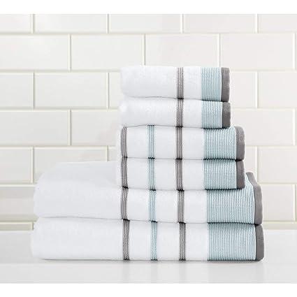 6 piezas Juego de toallas, gris de rayas de color gris vertical rayas Cabana diseño de ...