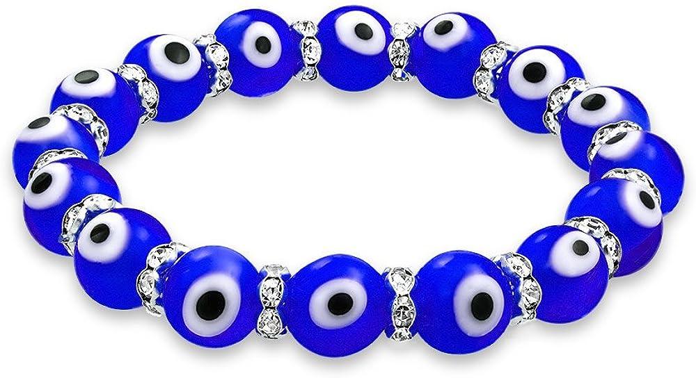 Bling Jewelry Pulsera Elástica De Cuentas De Vidrio Turco Mal De Ojo para Mujeres para Adolescentes Rondelle Crystal Más Colores