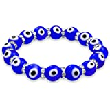 Evil Eye 10mm Blue Stretch Crystal Bracelet Silver Plated