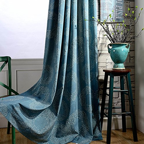Cheap Room Darkening Curtains Drapes Bedroom – Anady Linen Cotton Geometric Circle Curtains Teal Blue Drapes Grommet 100 inch Long(Customized Available)