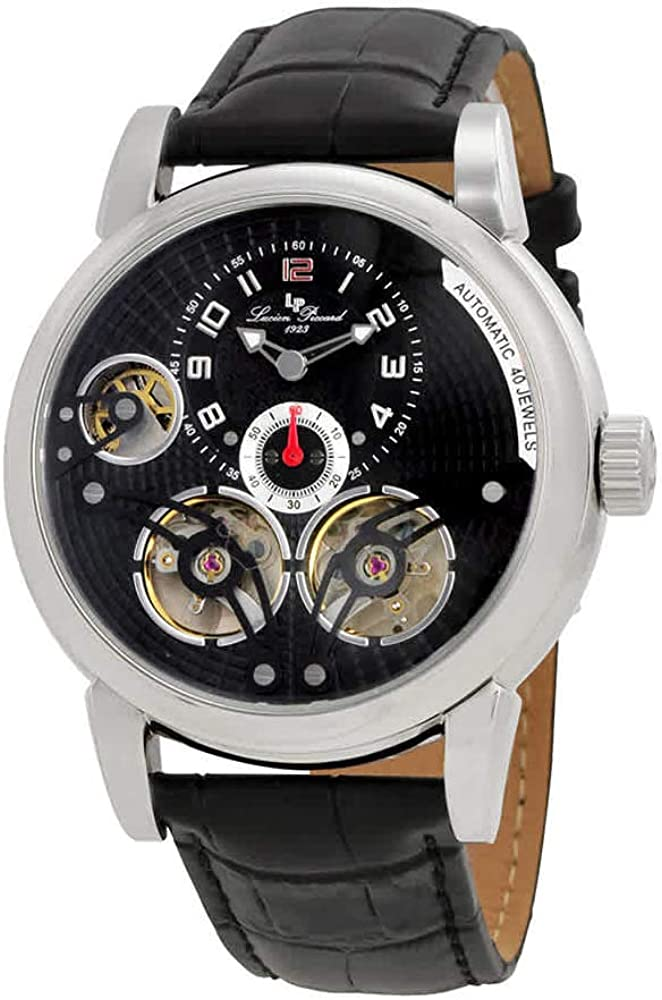Lucien Piccard Men s Cosmos Automatic Stainless Steel and Black Leather Casual Watch Model LP-15071-01