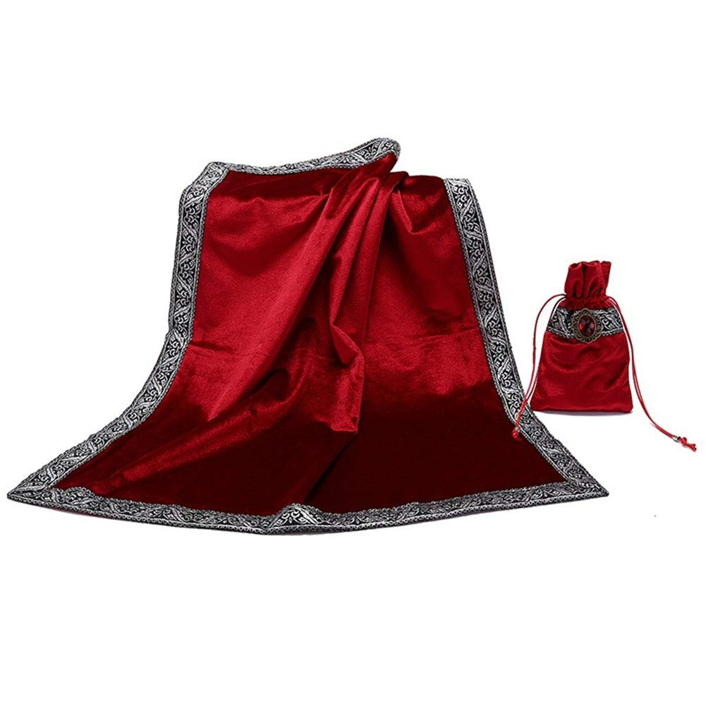 Myfreed Altar Tarot Table Cloth Divination Wicca Velvet Cloth with Tarot Pouch (Red)