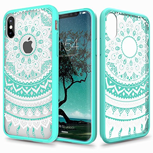 Price comparison product image iPhone X Case, Aisikasi Mandala Totem Series Design Clear Hybrid Protective Case with Soft TPU Bumper + Hard Back Cover [Scratch Resistant] Cover Case for iPhone X (Green)