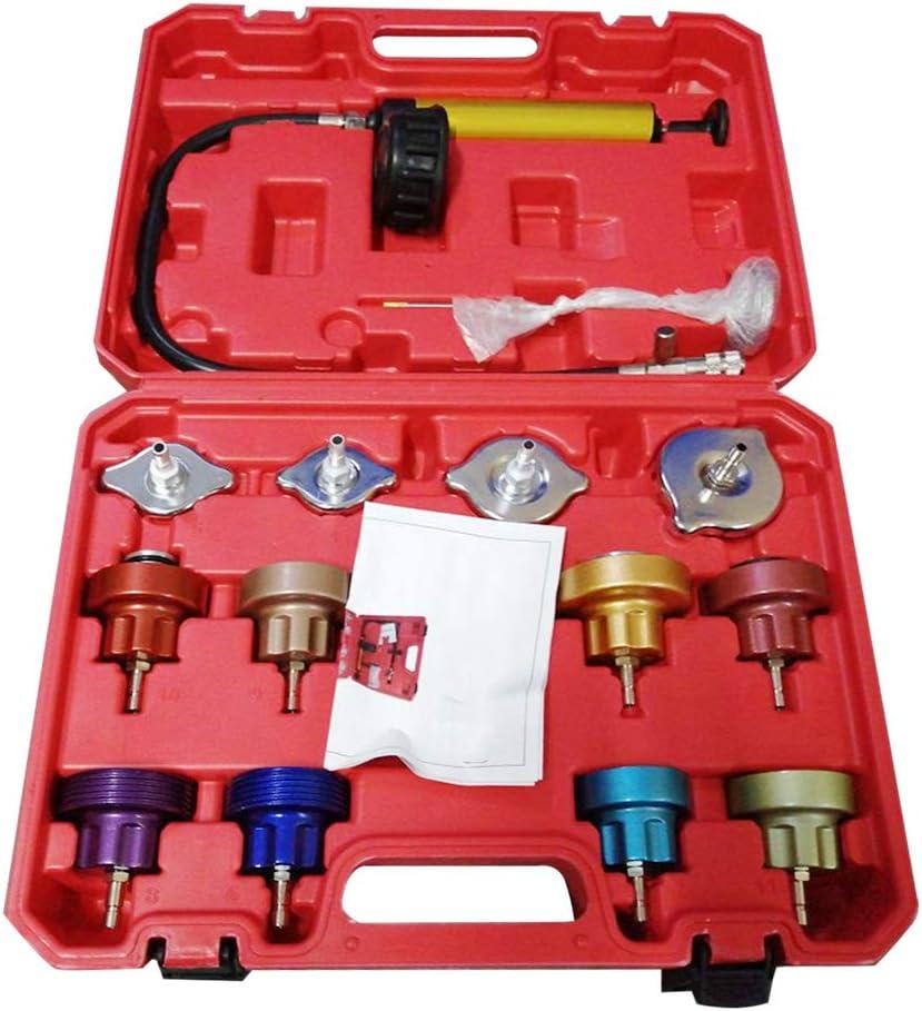Tinsay Universal Automotive Radiator Pressure Tester Kit Car Leak Detector Tool Auto Cooling System Coolant Vacuum Purge 14PCS Full Set
