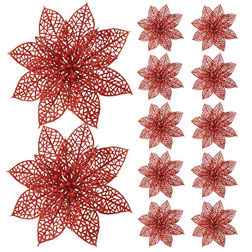 (Turelifes 12 Pack Glitter Artificial Poinsettia Flowers Christmas Tree Ornaments 5.9''(15cm) Diameter (Red))