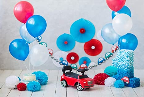 AOFOTO 7x5ft Polyester Baby Boy 1st Birthday Background Back Drop Balloons Paper Fans Pom Poms