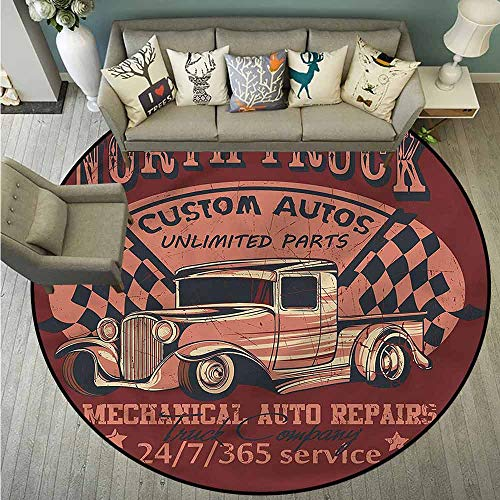 Bedroom Rugs,Man Cave,North Truck Auto Repairs,with No-Slip Backing,4'7