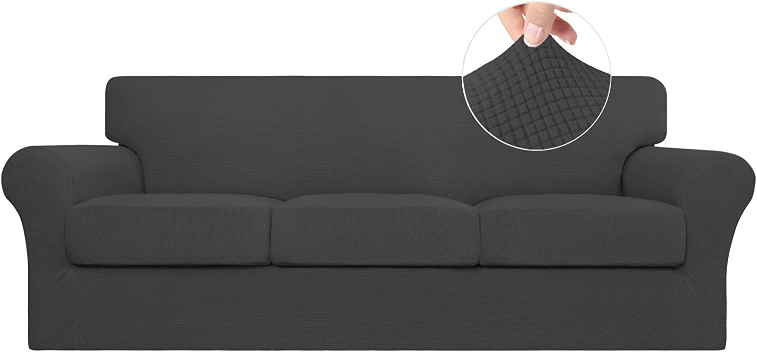 Easy-Going 4 Pieces Stretch Couch Cover Sofa Cover for Dogs Washable Sofa Slipcover for 3 Separate Cushion Couch Spandex Jacquard Fabric Elastic Furniture Protector for Pets,Kids(Dark Gray, Sofa)