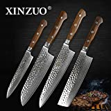 XINZUO 4pc Kitchen Knife Set 8 inch Damascus Chef Knife santoku utility High Carbon Stainless Steel Pro Kitchen 8 inch Chef's Knife Stainless Steel Santoku Knives New House Gift Rose Wood Handle