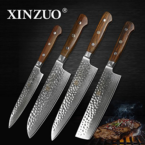 XINZUO 4pc Kitchen Knife Set 8 inch Damascus Chef Knife santoku utility High Carbon Stainless Steel Pro Kitchen 8 inch Chef's Knife Stainless Steel Santoku Knives New House Gift Rose Wood Handle by XINZUO