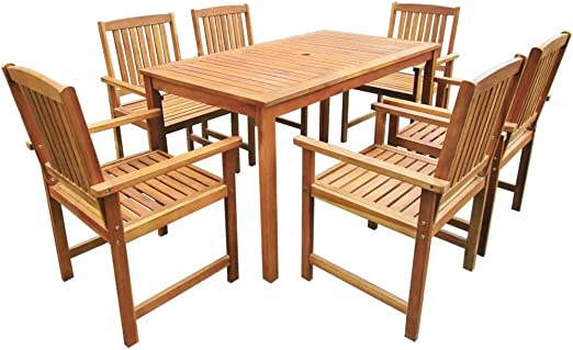 cangzhoushopping Mobiliario Mobiliario de Exterior Conjuntos de mobiliario de Exterior Muebles de jardín Madera Maciza de Acacia 7 Piezas Marron 140cm: Amazon.es: Jardín