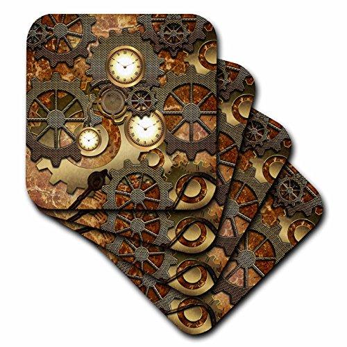 [Heike Köhnen Design Steampunk - Steampunk clocks gears in golden design - set of 8 Coasters - Soft] (Steampunk Decorations)