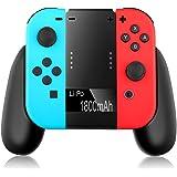 ELTD Nintendo Switch joy-con 充電グリップ joy-con充電スタンド joy-con充電ハンドル 1800mAh電源付き(ブラック)
