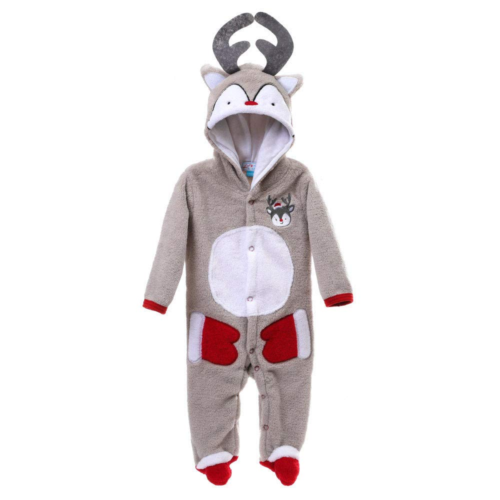 Abbigliamento da Bambine Ragazze, Neonato Bambino Ragazza Ragazzo Natale Cervo Corallo Vello Punto Pagliaccetto Abiti Outfits 14.98