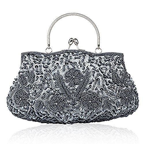 EROUGE Beaded Sequin Design Flower Evening Purse Large Clutch Bag (Gray)