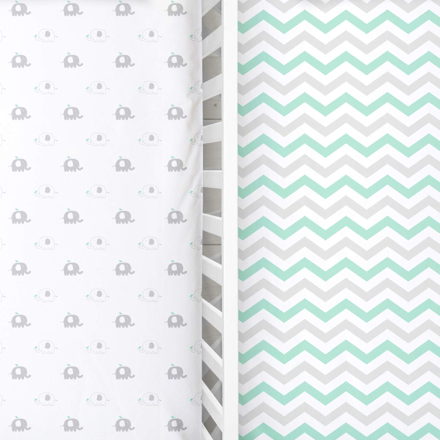 Safari Elephants Grey /& Teal Chevron Stretchy Jersey Cotton Bedding for Standard Mattress 2 Pack Toddler Bed Sheet for Boy or Girl Cuddly Cubs Softest Fitted Crib Sheets Set