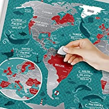 Premium Scratch Off Map - 60 x 40 cm - Places I've Been World Travel Map - Great Scratchable World Map Gift For Any Traveler - Made From Durable Flexible Plastic to Last Longer by 1DEA.me