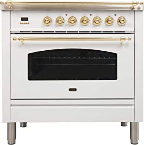 Ilve UPN90FDMPB Nostalgie Series 36 Inch Dual Fuel Convection Freestanding Range, 5 Sealed Brass Burners, 3.55 cu.ft. Total Oven Capacity in White, Brass Trim (Natural Gas)