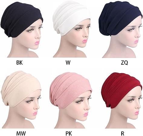 CADANIA Bonnet de Sommeil en Coton Unisexe Cancer Bonnet Turban Musulman Perte de Cheveux Chemo Hat Chapeau Bleu Marine