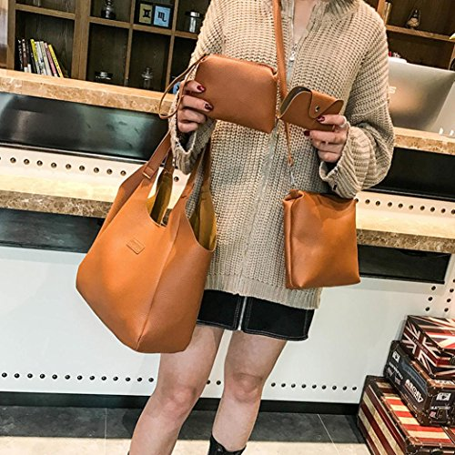 Leather Handle Purse Toamen PU Style brown Bag Tote Handbag Shoulder Top Womens 2 Bags BwYqY5