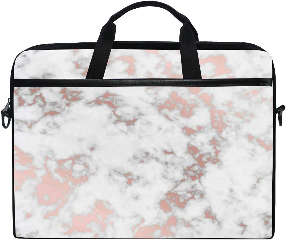 WXLIFE White Marble Rose Gold 13 13.3 14 Inch Laptop Shoulder Messenger Bag Case Sleeve Briefcase with Handle Strap for Men Women Boys Girls