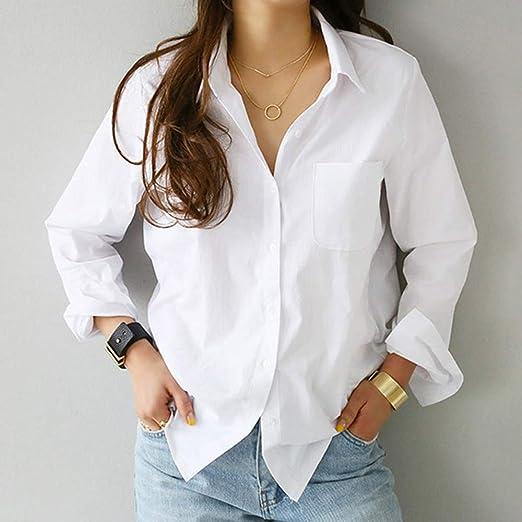 2020 Primavera un Bolsillo Mujer Camisa Blanca Blusa Femenina Tops de Manga Larga Casual Cuello Vuelto OL Estilo Mujer Blusas Sueltas,XL: Amazon.es: Hogar