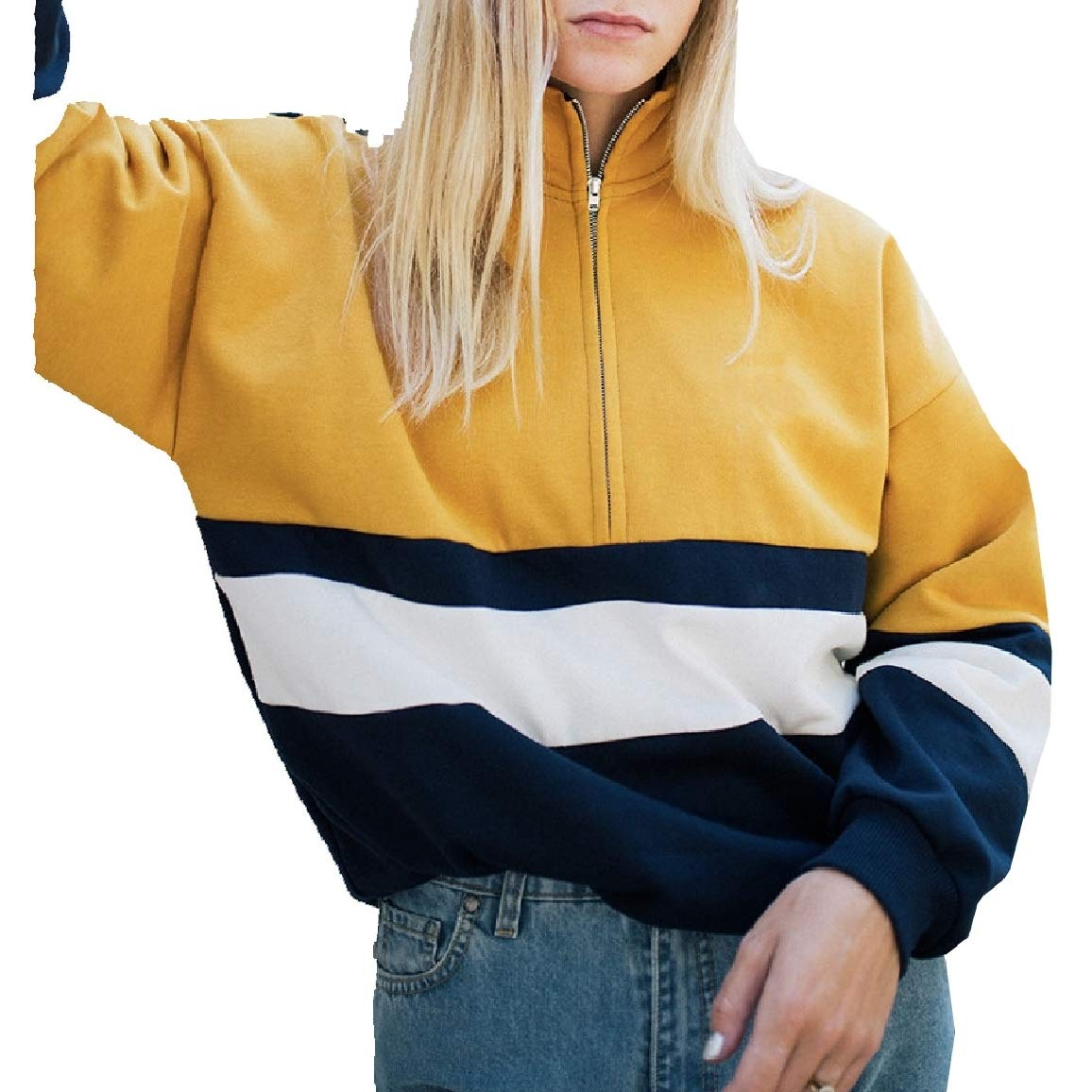Nicelly Womens Collision Color High Neck Relaxed-Fit Long-Sleeve with Zips Pullover Sweatshirt