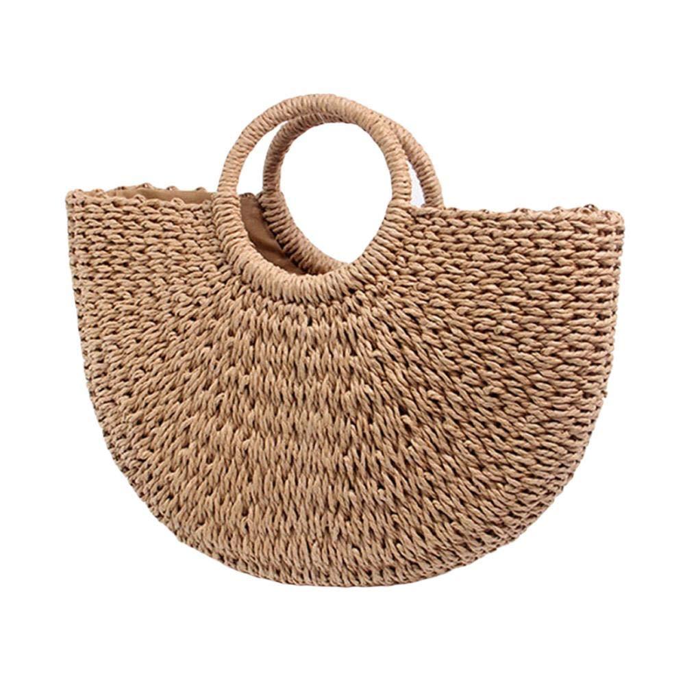 Brown Handwoven Rattan Bag Large Hobo Handbag Weave Tote Straw Bag for Women Summer Beach Bags