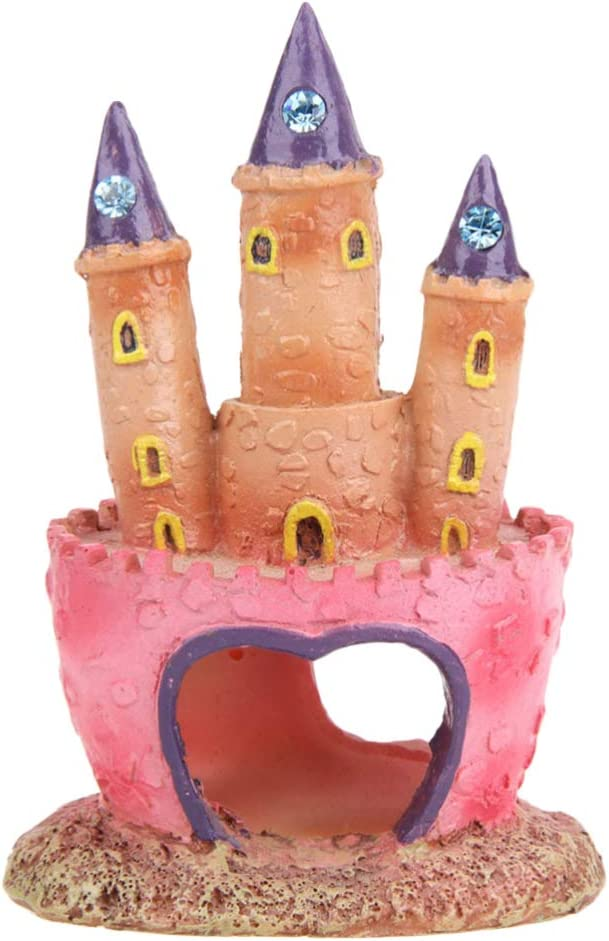 POPETPOP Aquarium Decorations Heart Castle - Fish Tank Decorations Cichlids Fish Hideout House Cute Castle for Girls Gift Toy Pink