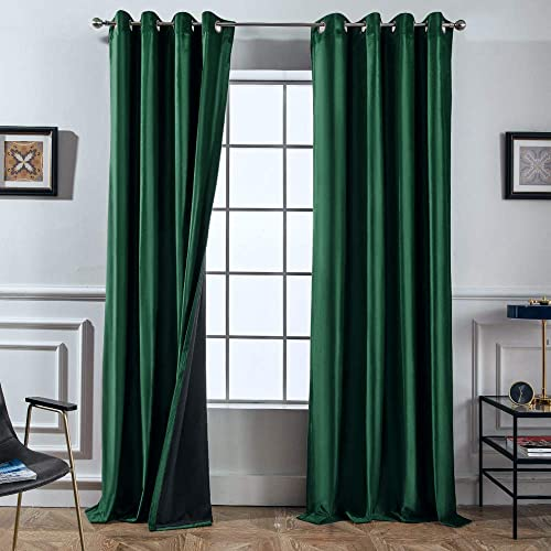 Melodieux 100 Blackout Velvet Curtains for Bedroom Living Room – Thermal Insulated Drapes with Black Liner, 52 by 96 Inch, Green 2 Panels