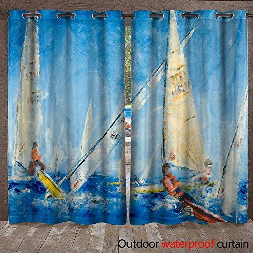 (BlountDecor Outdoor Curtain Panel for Patio Sailing Dinghys Racing Waterproof CurtainW120 x L108)