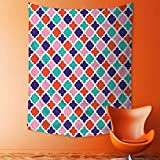 Wall Tapestries Colorful Mosaic Tiles Oriental Asian Islamic Ikat Indonesian Patterns Motifs Decorative Tapestry Table Cover Bedspread Beach Towel Lattern